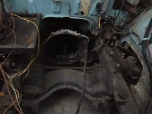 Engine area before paint