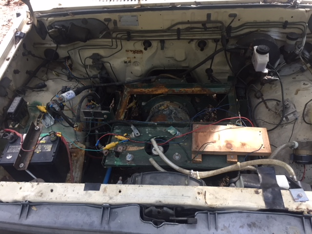 86 Mazda B2000 Engine Compartment showing Warp9 Motor and Plate